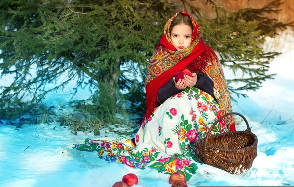Picture winter, forest, apples, girl, shawl