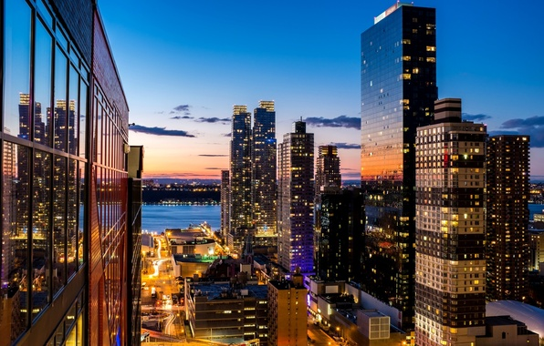 Picture the sky, clouds, light, sunset, the city, lights, Windows, building, New York, skyscrapers, the evening, ...