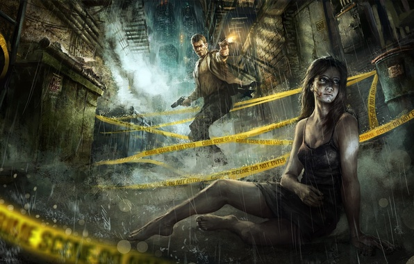 Picture girl, night, the city, weapons, rain, guns, tape, guy, lane, shots, wounds