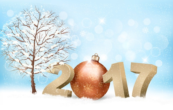 Picture winter, snow, snowflakes, branches, lights, background, tree, holiday, toy, graphics, new year, vector, ball, figures, …