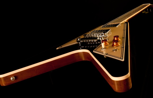 Picture guitar, strings, case, black background, electric guitar, Grif, gibson, flying v
