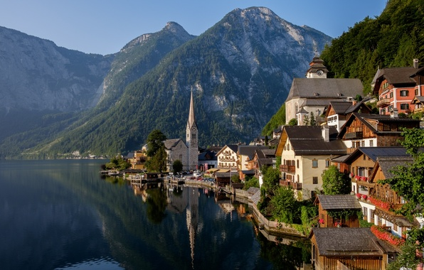 Picture mountains, lake, home, Austria, Alps, Austria, Hallstatt, Alps, Lake Hallstatt, Hallstatt, Lake Hallstatt