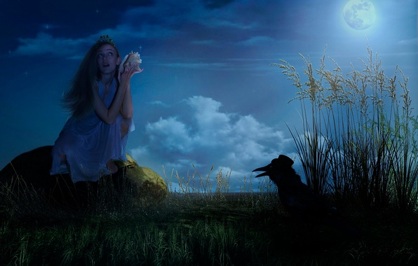 Picture girl, night, fantasy, the moon, tale, stars, hat, Raven