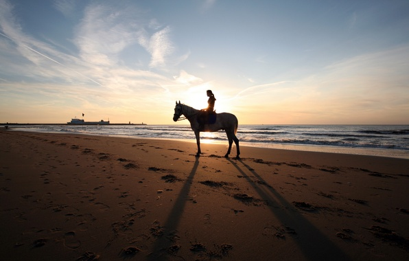 Picture BEACH, GIRL, SEA, HORSE, SHIP, HORIZON, The SKY, SAND, COAST, SHORE, TRACES