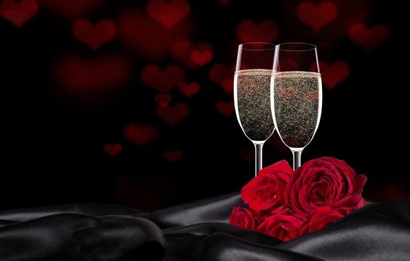 photo wallpaper gift valentines day wine roses love romantic glasses