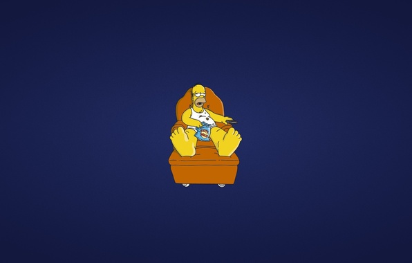 Picture sofa, The simpsons, minimalism, remote, lies, Homer, blue background, homer, The Simpsons, collapsed