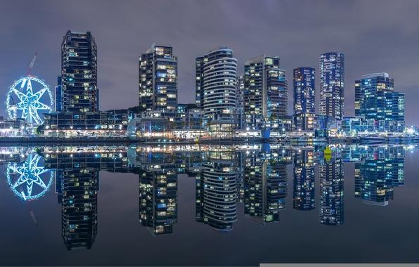 Picture building, Bay, Australia, night city, promenade, skyscrapers, Melbourne, Australia, Melbourne, Victoria Harbour, Bay Victoria harbour