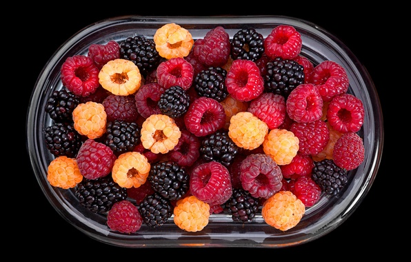 Picture berries, raspberry, bowl, fresh, BlackBerry, berries, raspberry