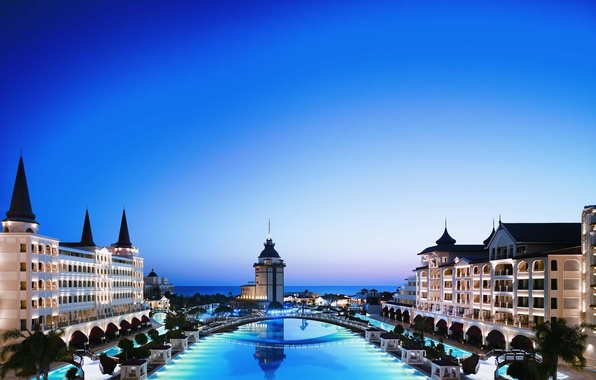 Picture sea, the sky, trees, bridge, the city, building, the evening, pool, the hotel, architecture, Turkey, …