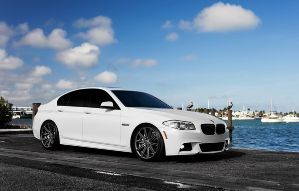 Picture car, auto, BMW, white, sedan, f10, BMW 5 series