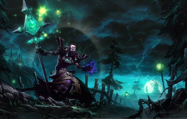 Picture trees, night, magic, the moon, mill, staff, Necromancer
