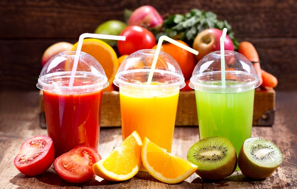 Picture apples, orange, kiwi, juice, glasses, drink, fruit, box, tomato, tomatoes, tube