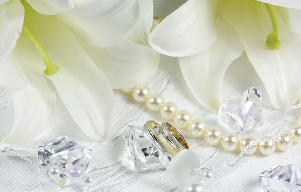 Picture flowers, Lily, ring, beads, crystals, white, wedding, pearls