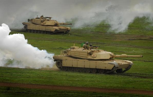 Photo wallpaper smoke, grass, Abrams, tank