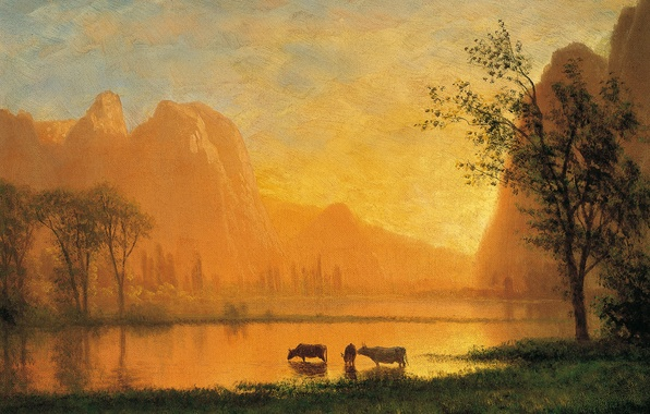 Picture landscape, mountains, lake, picture, Sunset in Yosemite, Albert Bierstadt