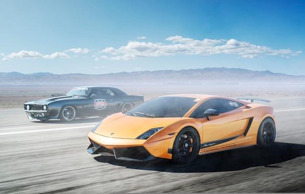Picture Lamborghini, Chevrolet, Camaro, Superleggera, Gallardo, black, muscle car, orange