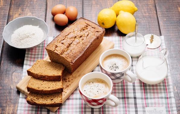 Picture lemon, coffee, eggs, milk, cakes, cupcake, flour