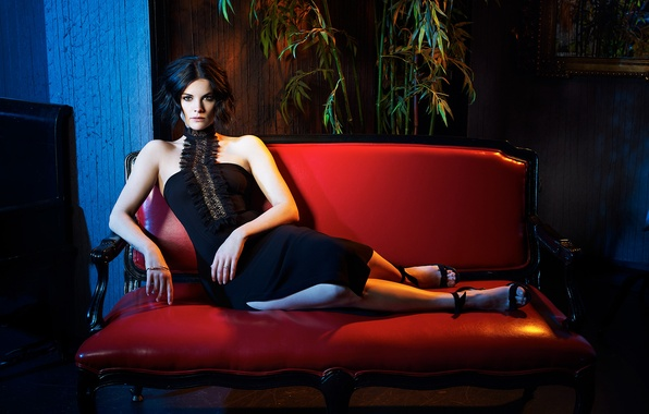 Picture pose, sofa, model, makeup, figure, dress, actress, brunette, hairstyle, shoes, photoshoot, Jaimie Alexander, Jamie Alexander, …