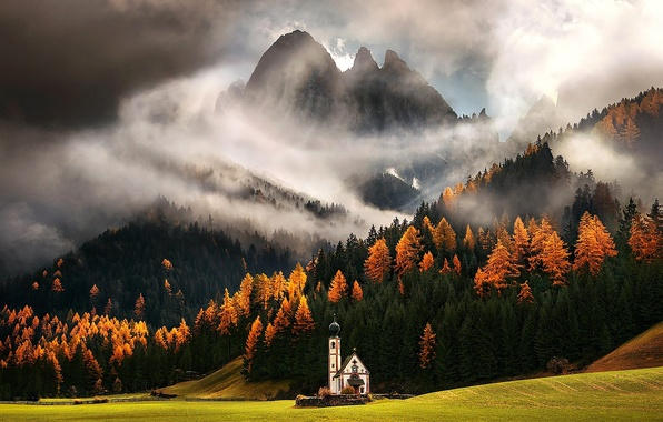Picture field, autumn, forest, clouds, trees, mountains, Alps, chapel, The Dolomites