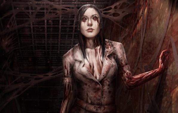 Picture girl, darkness, corridor, blood, nurse, death, fan art, Silent Hill