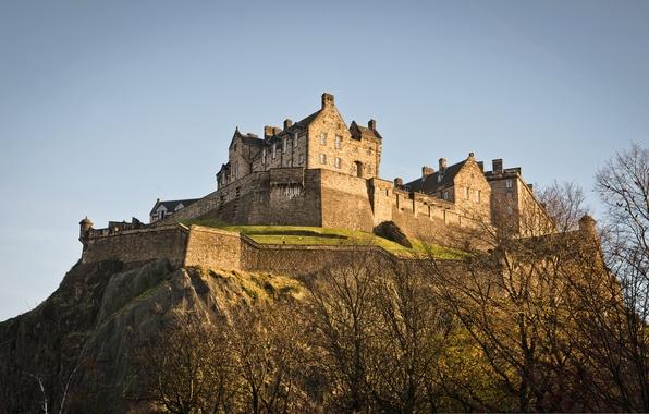 Picture trees, castle, mountain, Scotland, hill, Edinburgh, Edinburgh, Sterling