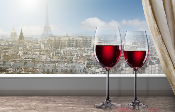 Picture clouds, the city, wine, red, Paris, glasses, window, Eiffel tower, sill, curtain