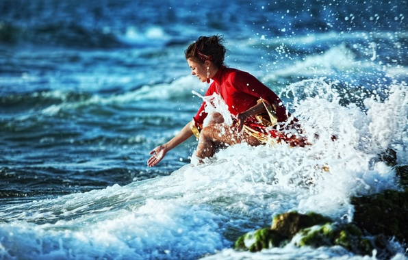 Picture wave, girl, squirt, surf