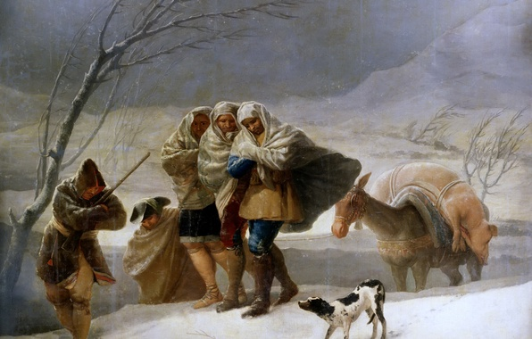 Picture animals, people, Winter, picture, travelers, genre, Francisco Goya, Blizzard