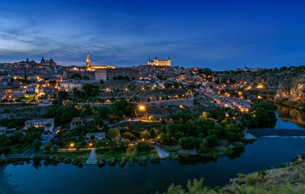 Picture the city, river, castle, building, the evening, panorama, Spain, Toledo, Spain, architecture., Toledo