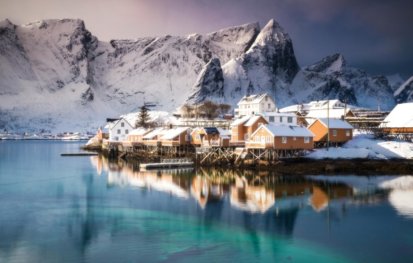 Picture winter, sea, snow, mountains, home, Norway, the village, The Lofoten Islands