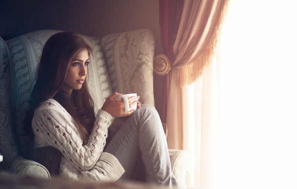 Picture girl, comfort, room, chair, window, mug, curtains