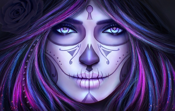 Picture eyes, look, girl, face, death, hair, skull, makeup, tattoo, art