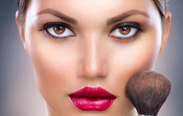 Picture look, face, lipstick, lips, brush, shaving brush
