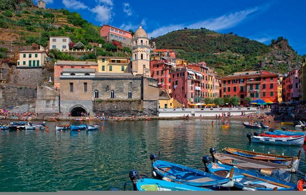 Picture sea, mountains, tower, home, Bay, boats, Italy, Vernazza, Cinque Terre, The Ligurian coast