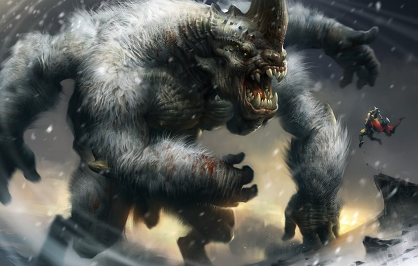 Picture winter, snow, monster, storm, teeth, hands, grin, horn