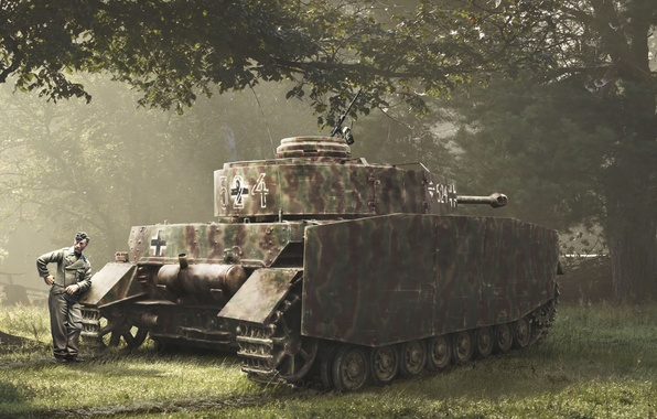 Picture forest, Germany, soldiers, tank, the Germans, Pz-IV, Hand-drawn photo, The Wehrmacht