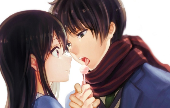 Picture girl, anime, scarf, art, pair, guy, candy, two, beyond, nase mitsuki, yue, kyoukai no kanata, ...