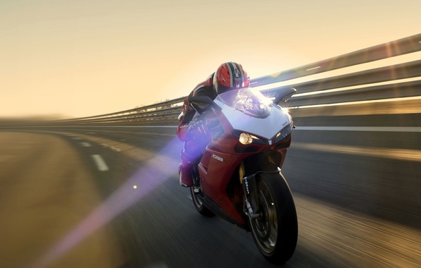 Picture Red, Speed, Light, Motorcycle, Ducati