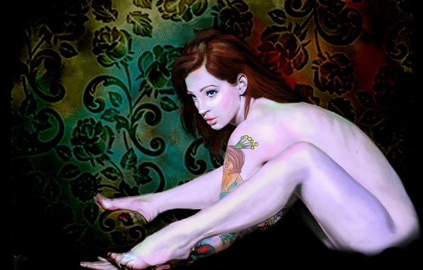 Picture look, girl, flowers, face, background, patterns, hair, naked, back, hands, tattoo, art, sitting