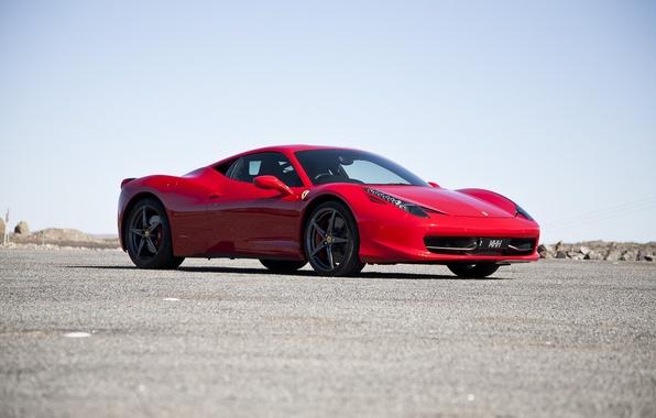 Picture the sky, asphalt, red, shadow, red, ferrari, Ferrari, side view, Italy, 458 italia