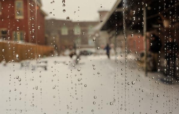 Picture glass, drops, rain, street