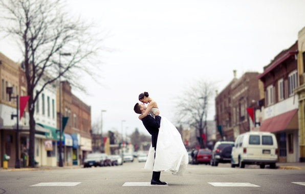 Picture road, the city, street, dress, costume, lovers, the bride, the groom