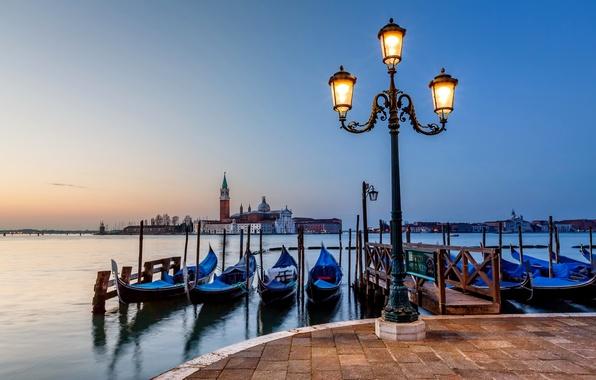 Picture sea, light, the city, island, the evening, pavers, pier, Italy, lantern, Venice, Italy, gondola, Venice, …