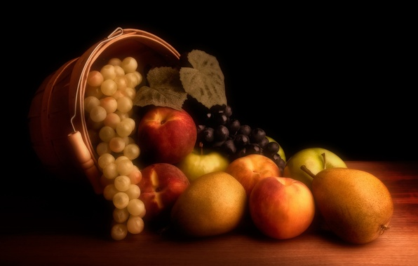 Picture apples, grapes, fruit, still life, peaches, pear