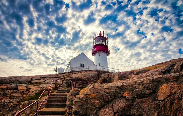 Picture the sky, clouds, rock, lighthouse, Norway, ladder, stage, norway, Lindesnes, lindesnes lighthouse
