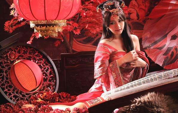 Picture girl, decoration, hairstyle, costume, Asian, lanterns, Chinese, national, ethno