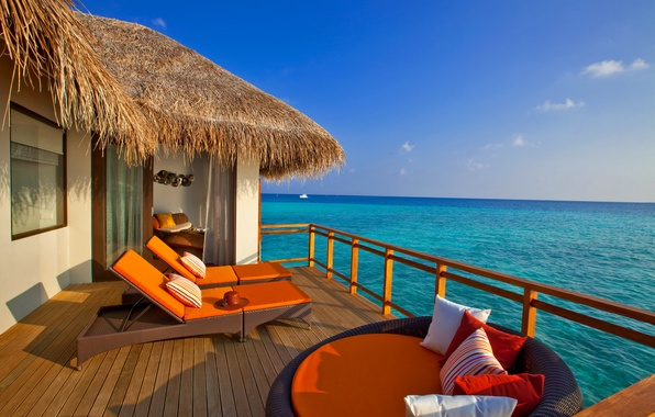 Picture sea, the sky, the ocean, hat, pillow, the Maldives, Bungalow