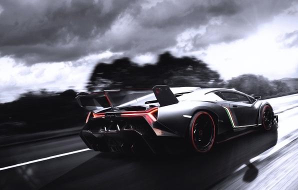 Picture The sun, Auto, Road, Lamborghini, Machine, Shadow, supercar, Blik, In Motion, Veneno