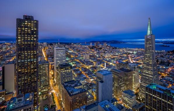 Picture building, tower, CA, panorama, San Francisco, night city, skyscrapers, California, San Francisco