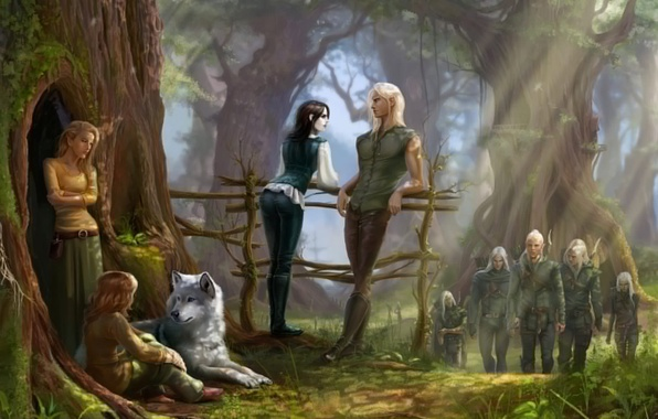 Picture forest, tree, wolf, moss, art, elves, railings, the sun's rays, archers